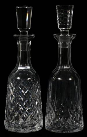 WATERFORD CRYSTAL DECANTERS TWO H 13