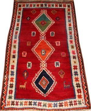 SOUTH AMERICAN HAND WOVEN WOOL CARPET 53 X 3