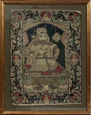ANTIQUE WOOL LAVAR KIRMAN PERSIAN PORTRAIT MAT