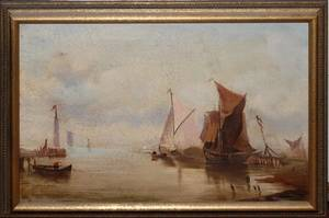 ENGLISH OIL ON CANVAS 19TH C MOORED SHIPS