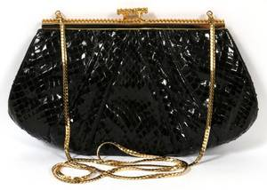 JUDITH LEIBER BLACK SNAKESKIN EVENING BAG