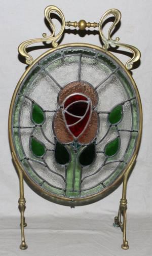 ART NOUVEAU LEADED GLASS BRASS FIREPLACE SCREEN