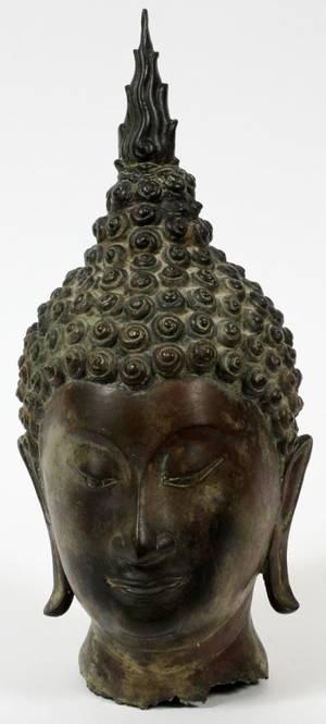 SOUTHEAST ASIAN BRONZE HEAD OF BUDDHA 12 12H