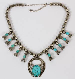 NAVAJO SILVER TURQUOISE SQUASH BLOSSOM NECKLACE