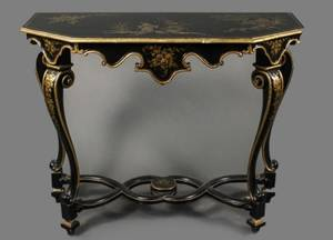 Italian Black Lacquered  GIlt Accented Console