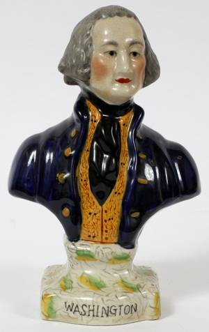 STAFFORDSHIRE BUST OF GEORGE WASHINGTON 19TH C