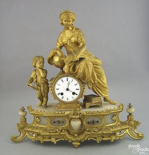 French gild metal and marble mantle clock late 19th c
