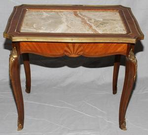 FRENCH MARQUETRY MARBLE TOP TABLE H 21 L 24