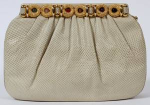 JUDITH LEIBER BEIGE LIZARDSKIN EVENING BAG