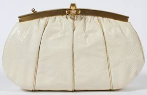 JUDITH LEIBER IVORY LIZARDSKIN EVENING BAG