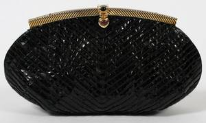 JUDITH LEIBER BLACK LIZARDSKIN EVENING BAG