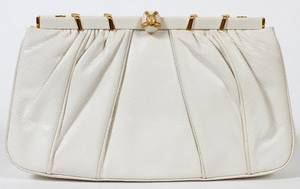 JUDITH LEIBER WHITE LIZARDSKIN EVENING BAG W 9