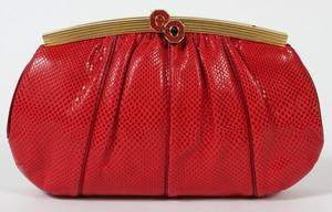JUDITH LEIBER RED LIZARDSKIN EVENING BAG W 9