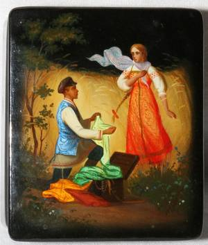 RUSSIAN LACQUER BOX MID 20TH C L 4