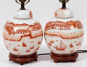 CHINESE PORCELAIN GINGER JARS MOUNTED AS LAMPS