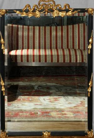 FRENCH STYLE BLACK MIRROR WITH GILT ACCENTS