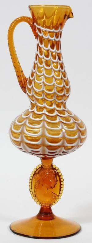 ITALIAN AMBER GLASS PORTRAIT EWER H 16