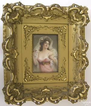 Painted porcelain plaque late 19th c