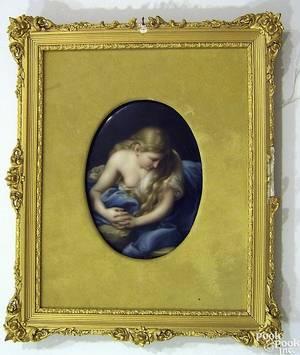 Handpainted porcelain plaque late 19th c