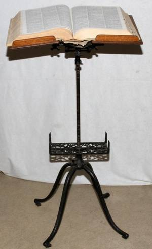 AMERICAN OAK  CAST IRON DICTIONARY STAND C1900