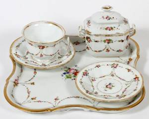 OLD PARIS PORCELAIN BREAKFAST SET ON TRAY C1840