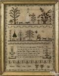 English silk on linen sampler dated 1811