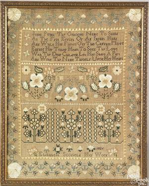 Reading Pennsylvania silk on linen needlework sampler wrought by Elizabeth Schofield and dated 1826