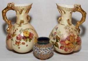 ROYAL WORCESTER PITCHERS  DOULTON VASE 19TH C
