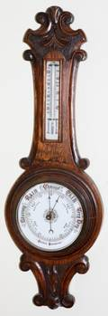 ENGLISH ANDROID OAK BAROMETER 19TH C H 28