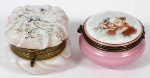 VICTORIAN GLASS  FRENCH PORCELAIN BOXES TWO
