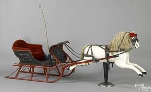 Childs carved and painted horse and sleigh ca 1900