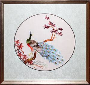 CHINESE SILK EMBROIDERY DIA 8 PHEASANT
