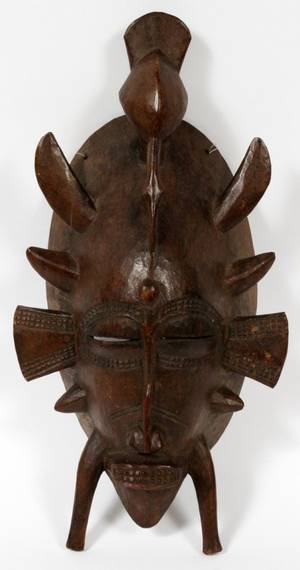 CARVED WOOD W AFRICAN SUNUFO CEREMONIAL MASK