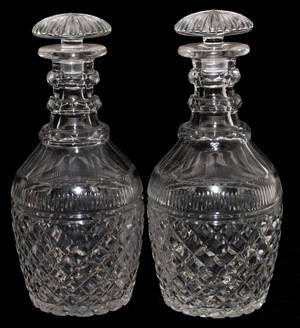 WATERFORD CRYSTAL DECANTERS TWO H 10 12