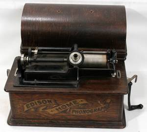 CYLINDER EDISON HOME PHONOGRAPH IN OAK CASE