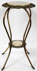 VICTORIAN ONYX  METAL PLANT STAND C1870 H 30