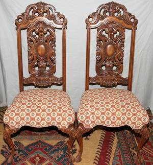 ENGLISH CARVED WALNUT SIDE CHAIRS C1930 PAIR