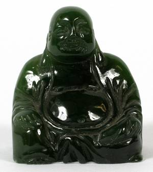 CHINESE JADE SEATED BUDDHA H 1 12