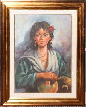 CONTEMPORARY ITALIAN OIL ON CANVAS GYPSY WOMAN
