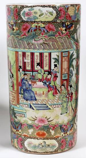 CHINESE PORCELAIN UMBRELLA STAND H 18