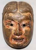 ASIAN CEREMONIAL MASK CARVED WOOD POLYCHROME