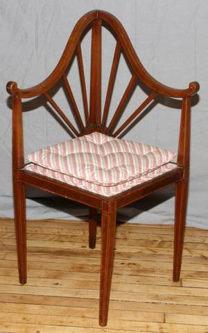 ENGLISH MAHOGANY CORNER CHAIR 19THC