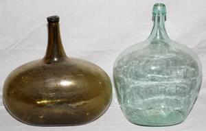 BLOWN GLASS BOTTLES TWO H 18 20