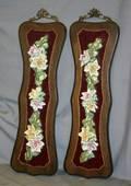 CERAMIC FLOWER CLUSTERS ON WOOD PANELS PAIR