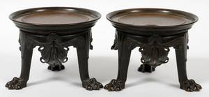FRENCH STYLE BRONZE STANDS PAIR H 4 12