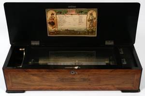 SWISS MUSIC BOX H 6 CYLINDER CIRCA 1900