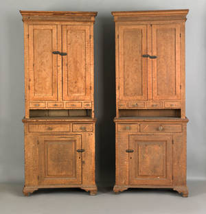 Two Pennsylvania painted Dutch cupboards dated 1821 and signed John Will Carpenter