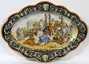 ITALIAN MAJOLICA MONUMENTAL CHARGER 19TH C