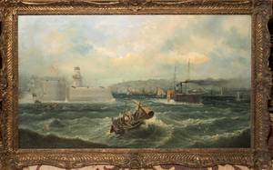 E PRIESTLEY 19THC OIL ON CANVAS HARBOR SCENE