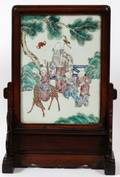 CHINESE HANDPAINTED PORCELAIN TABLE SCREEN